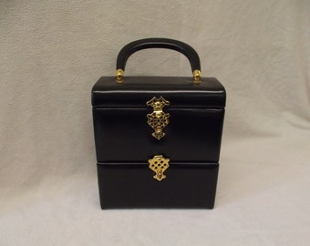Murray Kruger Two Tier Black Leather Handbag Elegant and Superb Condition.