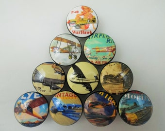 Set of 10 Vintage Style Airplane Cabinet Knobs
