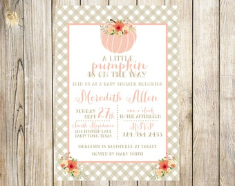 Pink Pumpkin Baby Girl Shower Invitation