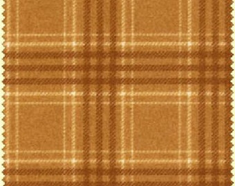 Woolies Flannel Fabric by Maywood Studios Plaid MAS F18142 S Golden Brown - 1/2 yard