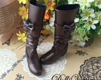 1/4 BJD Dollfie MSD Doll shoes Long Boots Pearl Brown with Bow