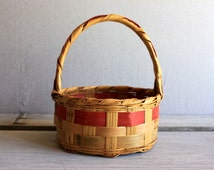 vintage Easter basket // woven wicker natural and pink and green Easter decoration 1960s 1950s