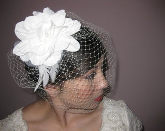 Birdcage Veil with handmade flower
