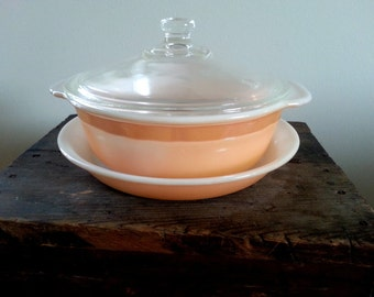 Vtg Fire King Copper Tint Peach Luster Casserole with lid and Pie Plate Set UNUSED