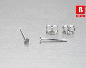 925 Sterling Silver Earrings , Tiny Heart Earrings, Stud Earrings, Size 2 mm (Code : E27Y)