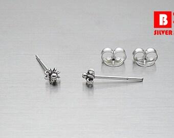 925 Sterling Silver Oxidized Earrings, Stud Earrings, Size 3 mm (Code : ED30A)