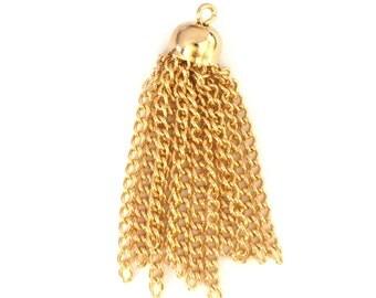 4x Gold Plated Chain Tassels - M020