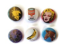 """Colorful Andy Warhol collection of six 1"""" pins/buttons/badges"""