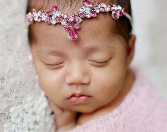 Sari, Pink Rhinestone Headband, Newborn Tie Back,  Baby Headband, Baby Halo Baby, Rhinestone Crown Photo Prop, Newborn Photo Prop
