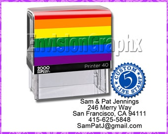 Custom Personalized 5 Line Address Self Inking Rubber Stamp Pride Theme