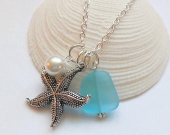 Turquoise Sea Glass Necklace, Charm necklace, Pearl, Starfish Necklace, bridesmaid necklace, beach wedding.  FREE SHIPPING within the U.S.