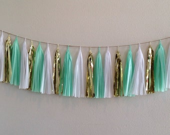 2 Tassel Garland or Giant balloon with tassels Confetti Mint Green White Gold