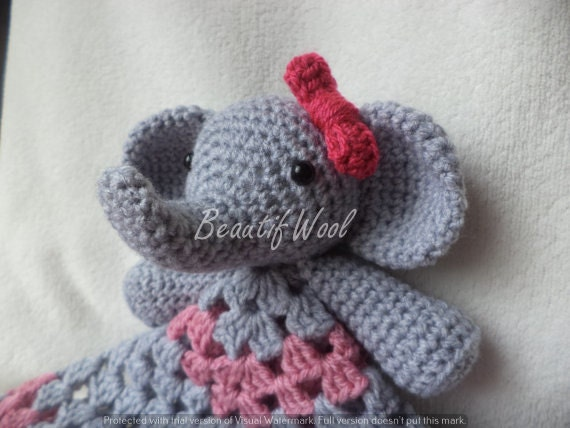 Amigurumi Elephant Snuggle : Erica the Elephant lovey security snuggle blanket Crochet