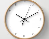 Take your time wall clock, back to school clock, motivational wall clock with words, modern clock, black and white decoration, office clock