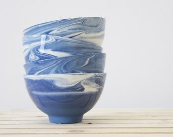 Set of ceramic bowl in blue and white marbled look.Dipping bowl,cereal bowl,dessert bowl,housewarming gift,Wedding gift,Hostess gift,Serving