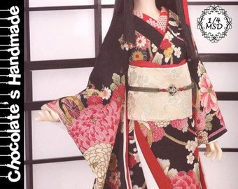 BJD Pattern MSD 1/4 Chinese traditional Japanese Kimono dress full set E-Pattern