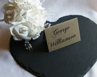 Vintage Wedding Table Place Name Cards - Brown Kraft