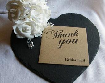 Vintage Wedding Personalised Square Thank You Cards - Brown Kraft Card