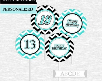 Personalized Black, Turquoise Cupcake Toppers Chevron Party Decoration PRINTABLE DIY (PDLM006)