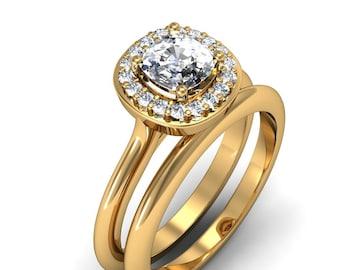14K Yellow Gold Cushion-Cut Diamond Ring Set