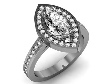1.10ct. tw. 10K White Gold Marquise Cut Diamond Engagement Ring