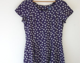 Navy Daisy Print Dress