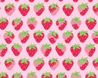 Sunrise Studio 2 Fabric, Pink with Strawberries, Half Yard, Lakehouse Dry Goods LH 14046-PETUNIA