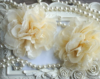 """Two Cream 3.75"""" Fabric flowers - Lace Flowers - shredded lace flower - chiffon flower - lace rose - wholesale - Supply - DIY"""