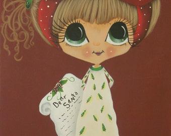 Christmas hand painted wood plaque, Sherri Baldy