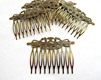Bronze Hair Combs,  5 or 10, Filigree Style, Metal Hair Combs, Hair Accessories, Blank Comb, Antique Bronze Comb, Cabochon Base, UK Seller