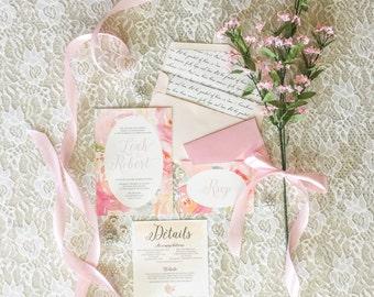 5x7 Pink Watercolor Floral Wedding Invitation Suite with Details Insert, RSVP & Scripture Bible Verse Envelope Liner