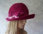 Fisher  Rare  Amazing Authentic Vintage Pink  Felt Fur Cloche hat