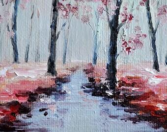 Original ACEO Impressionist Oil Painting, Original Art ACEO, Miniature Autumn Landscape, Maple Trees 2.5x3.5 Inch SFA