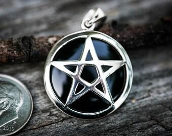 Colgante ónix y plata pentagrama - joyería Wicca plata y Onyx pentáculo collar - colgante de pagano - Wicca collar ónix colgante