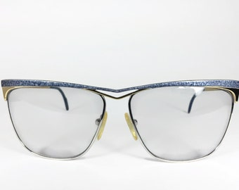 Vintage 1980s Gold and Blue Speckle Aviator Sunglasses - Premier #4