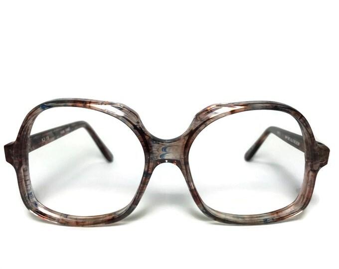 70s Vintage Eyeglasses | 1970s Blue Swirl Oversized Round Glasses | NOS Eyeglass Frame | Deadstock Eyewear - Kathleen