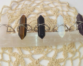 Crystal Ring / 5 Different Gemstones / Opalite / Amethyst / Tiger eye / Goldstone / Rose Quartz / Wanderlust Witch Ring FREE SHIPPING