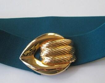 Belt Corset Stretch Belt Turquoise/ Blue Gold Buckle Waist Cincher