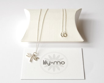 UK Silver Dragonfly Necklace,  dragonfly jewellery