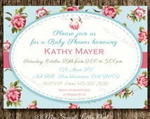 Shabby Baby Shower invitation - Shabby  Birthday - chic invite - Shabby invitation - baby shower invitation - bridal shower invitation