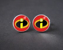 The Incredibles logo cuff links. Vintage Design. Custom Film Cufflinks Wedding Groomsmen accessory, Cool gift for grooms,father, Gift Idea