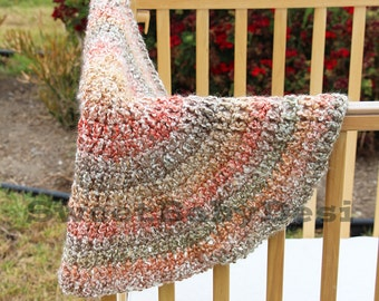 Circular Baby Blanket, Muted, Autumn Colors, Crib Afghan