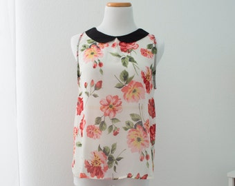Floral Sleeveless Sheer Collared Top
