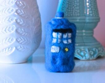 Needle Felted Tardis // Doctor Who // Handmade Tardis // Felted Sculpture // Fiber Art // Police Box // Blue Telephone Box