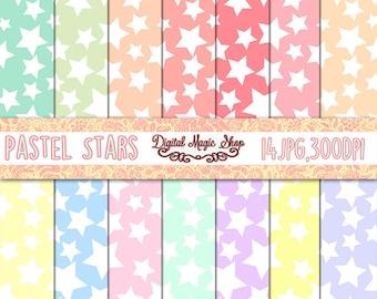 Stars digital paper, Pastel Stars Patterns, Seamless patterns - 14pcs 300dpi (paper crafts, card making, scrapbooking) Commercial use