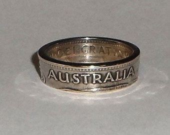 Australian 1 Shilling silver coin ring sizes 4-11