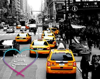 NYC, New York City, taxi, yellow, Manhattan, Black and white, home décor, fine art photograph, 8x10, print