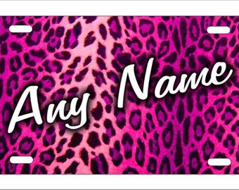 Pink Leopard Cheetah Pattern personalized novelty front license plate any name on Decorative airbrush car tag