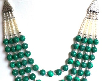 Genuine Freshwater Pearls and Malachite Beaded Statement Necklace and Matching Earrings