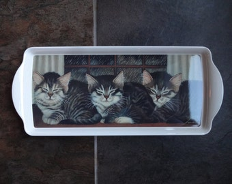Vintage Temark Melamine Tray, Kittens, Cat Lovers Gift,  Sandwich Serving Piece,Entertaining,Decor,Plastic Server,Rainy Day,Gray Black Tabby